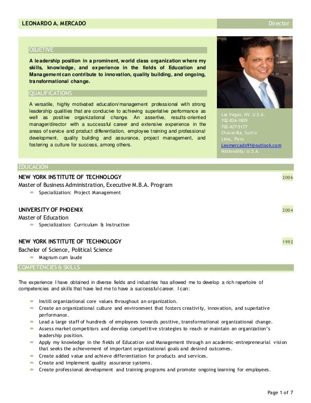 cv - resume leonardo mercado