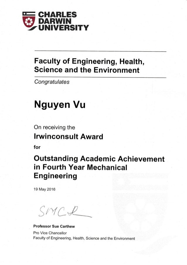 E Slflfi',F' YUNIVERSITY Faculty of Engineering, Health, Science and the Environment Congratulates Nguyen Vu On receiving ...