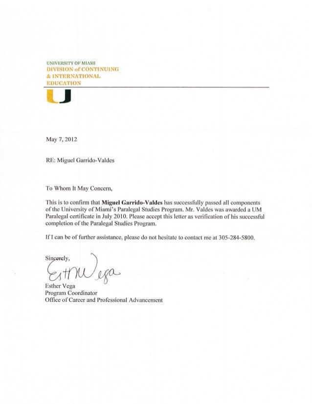miguel garrido valdes university of miami paralegal certificate trans…