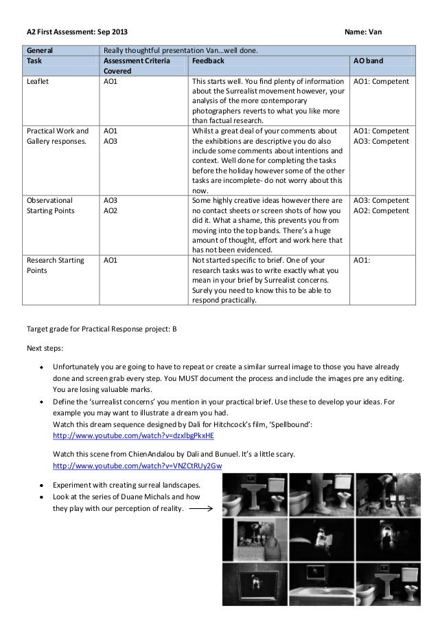 A2 First Assessment: Sep 2013 Name: Van General Really thoughtful presentation Van…well done. Task Assessment Criteria Cov...