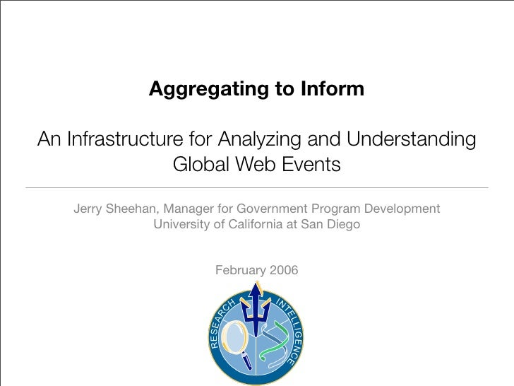 Aggregating to Inform  An Infrastructure for Analyzing and Understanding                 Global Web Events      Jerry Shee...