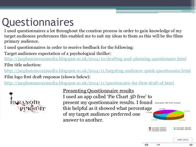 Questionnaires I used questionnaires a lot throughout the creation process in order to gain knowledge of my target audienc...