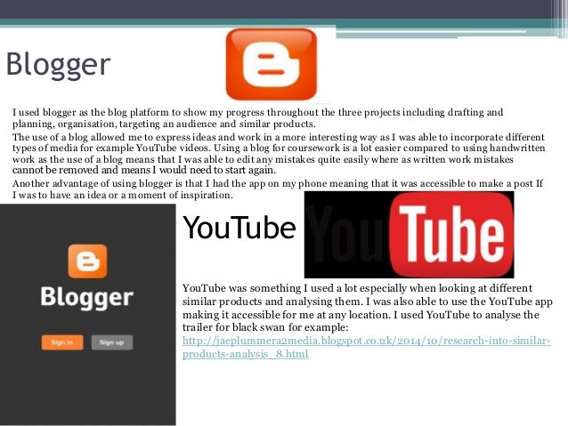 Blogger I used blogger as the blog platform to show my progress throughout the three projects including drafting and plann...