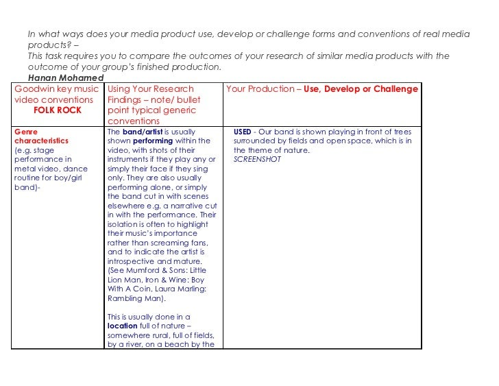 A2 media evaluative task one table