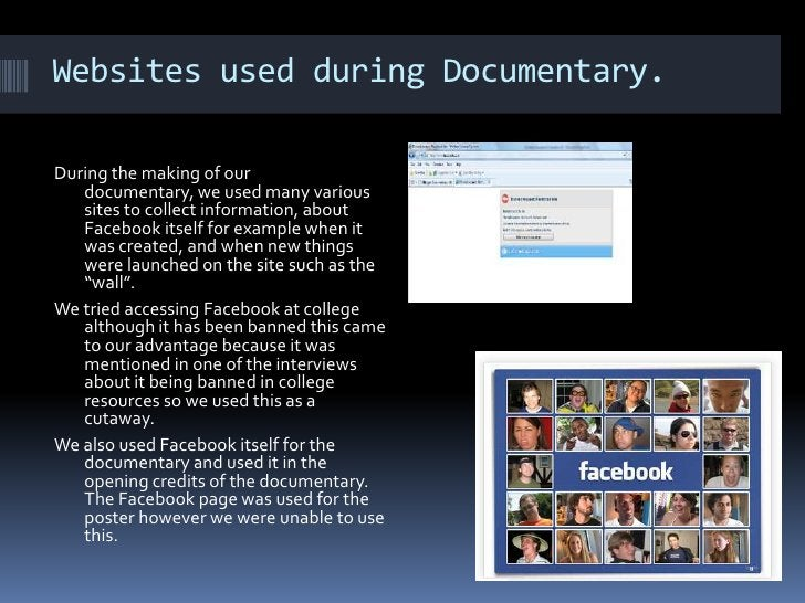 Websites used during Documentary. During the making of our documentary, we used many various sites to collect information,...
