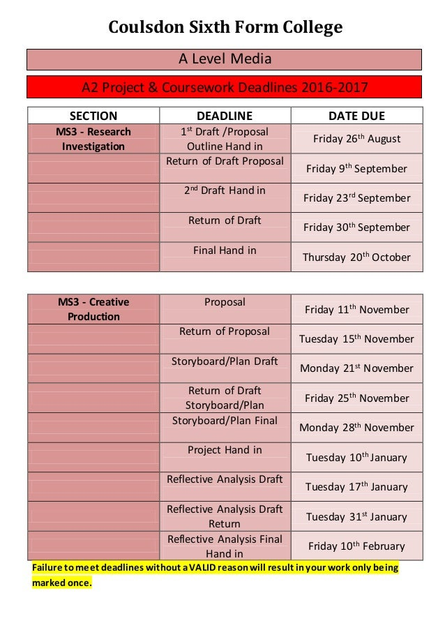ocr gcse coursework deadlines 2016