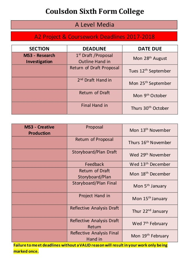 coursework deadlines 2017 wjec