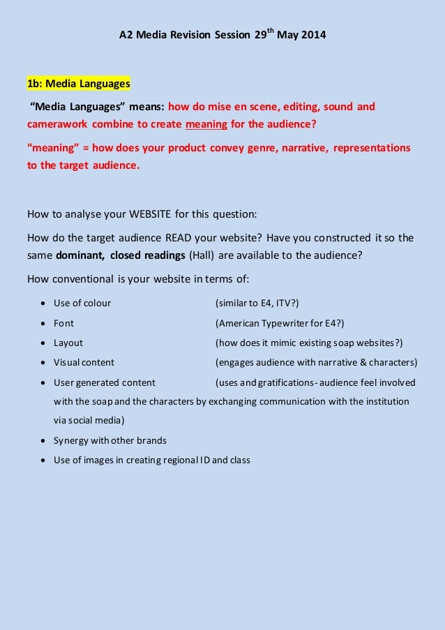 "A2 Media Revision Session 29th May 2014 1b: Media Languages ""Media Languages"" means: how do mise en scene, editing, sound ..."