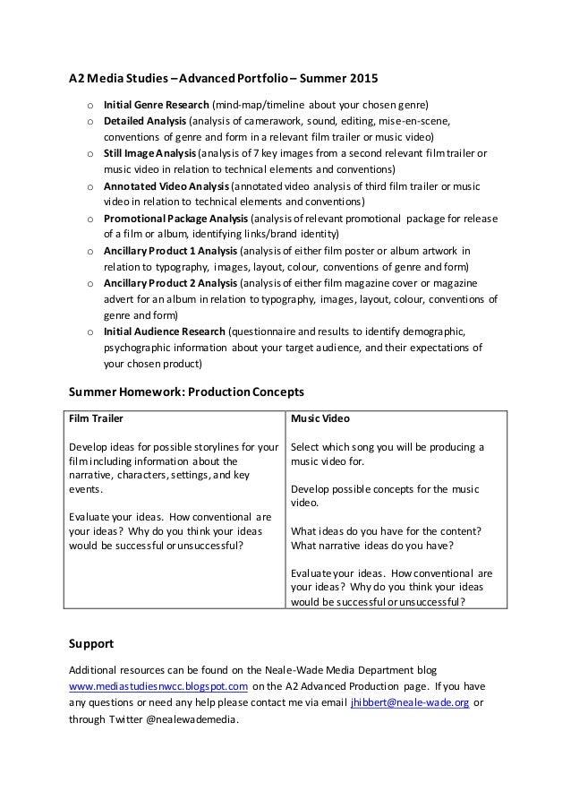 A2 MediaStudies –AdvancedPortfolio – Summer 2015 o Initial Genre Research (mind-map/timeline about your chosen genre) o De...