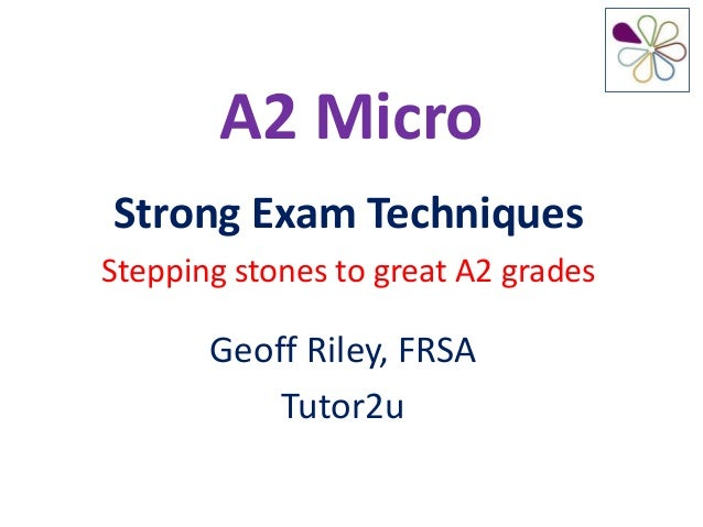 A2 MicroStrong Exam TechniquesStepping stones to great A2 grades       Geoff Riley, FRSA           Tutor2u