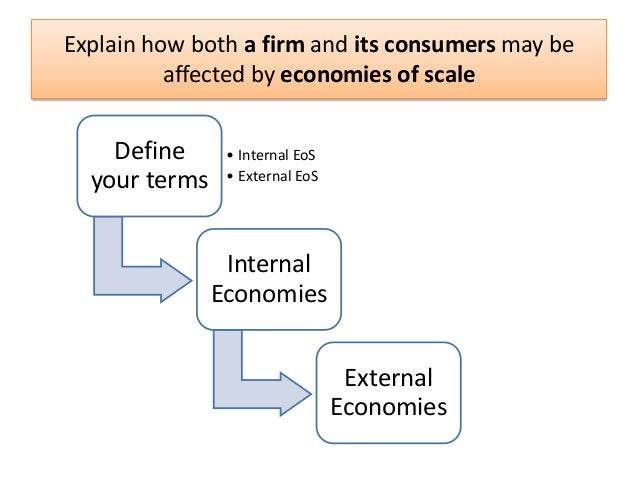 Explain how both a firm and its consumers may be affected by economies of scale  Define your terms  • Internal EoS • Exter...