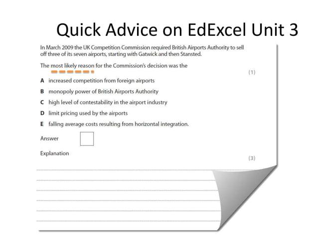 Quick Advice on EdExcel Unit 3