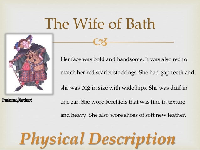 """an analysis of the character of the wife of bath from the canterbury tales The matriarch of bath – chaucer's  character allison of his tale """"the wife of bath"""" within the canterbury tales  the character alison, the image ."""