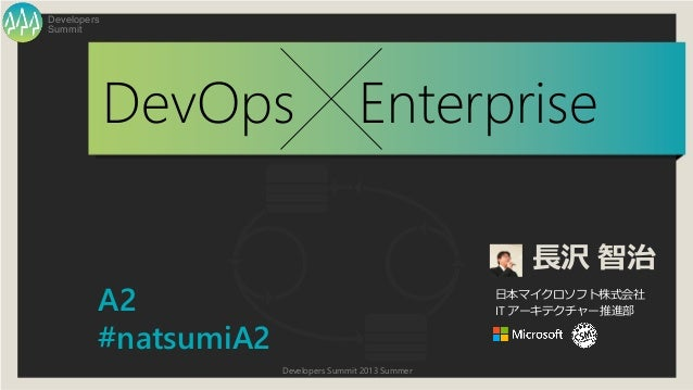 Developers Summit 2013 Summer Summit Developers DevOps Enterprise 長沢 智治 日本マイクロソフト株式会社 IT アーキテクチャー推進部A2 #natsumiA2
