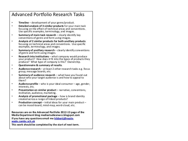 Advanced Portfolio Research Tasks•    Timeline – development of your genre/product.•    Detailed analysis of 3 similar pro...