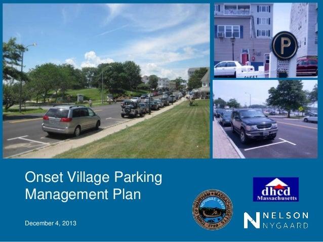 Onset Village Parking Management Plan December 4, 2013
