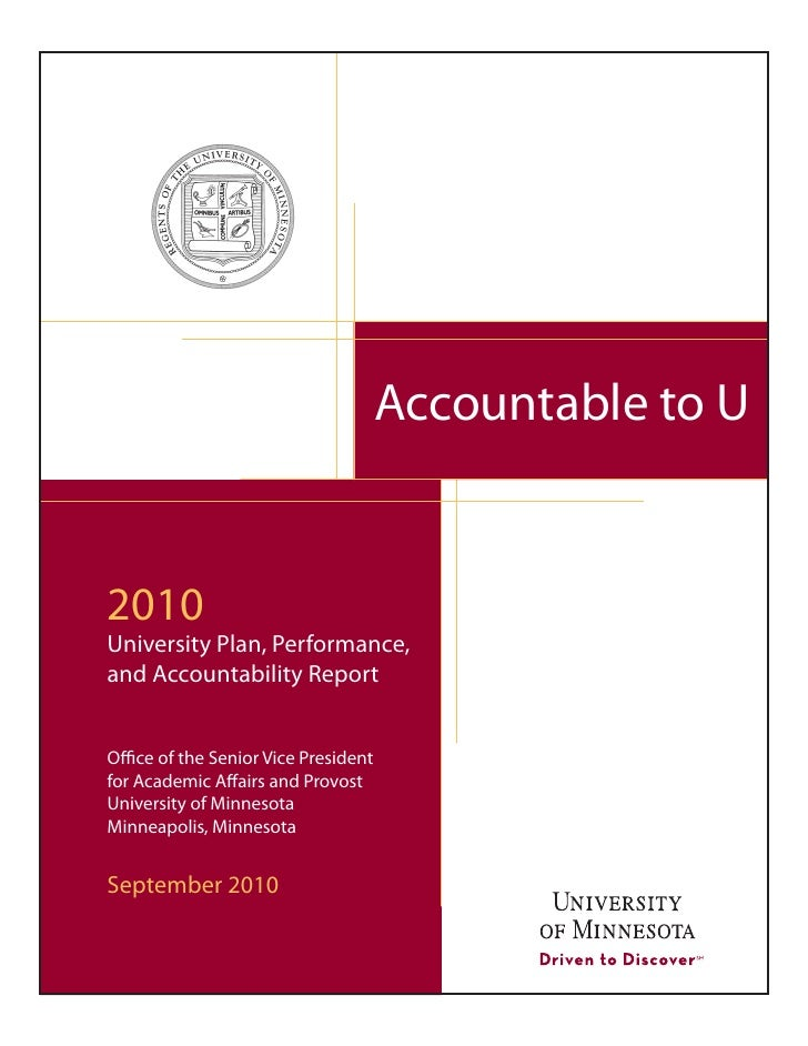 Accountable to U   2010 University Plan, Performance, and Accountability Report   Office of the Senior Vice President for ...