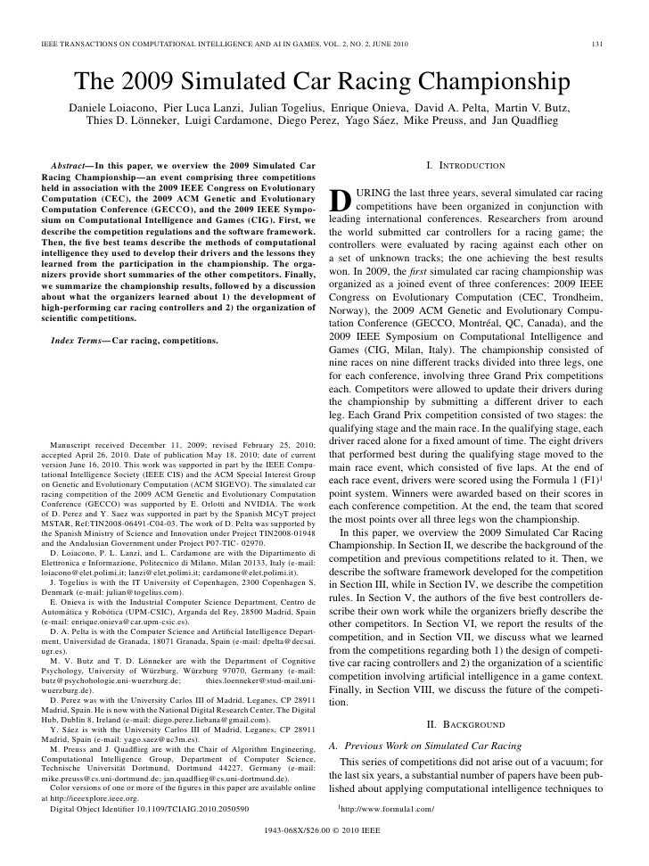 IEEE TRANSACTIONS ON COMPUTATIONAL INTELLIGENCE AND AI IN GAMES, VOL. 2, NO. 2, JUNE 2010                                 ...