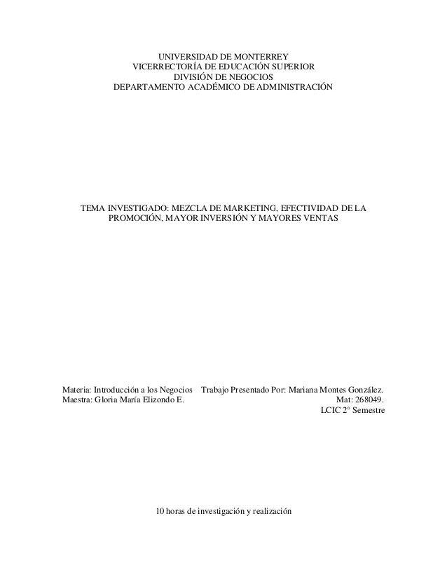 UNIVERSIDAD DE MONTERREYVICERRECTORÍA DE EDUCACIÓN SUPERIORDIVISIÓN DE NEGOCIOSDEPARTAMENTO ACADÉMICO DE ADMINISTRACIÓNTEM...
