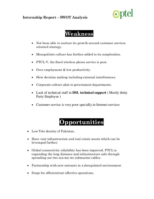internship report strengths weaknesses