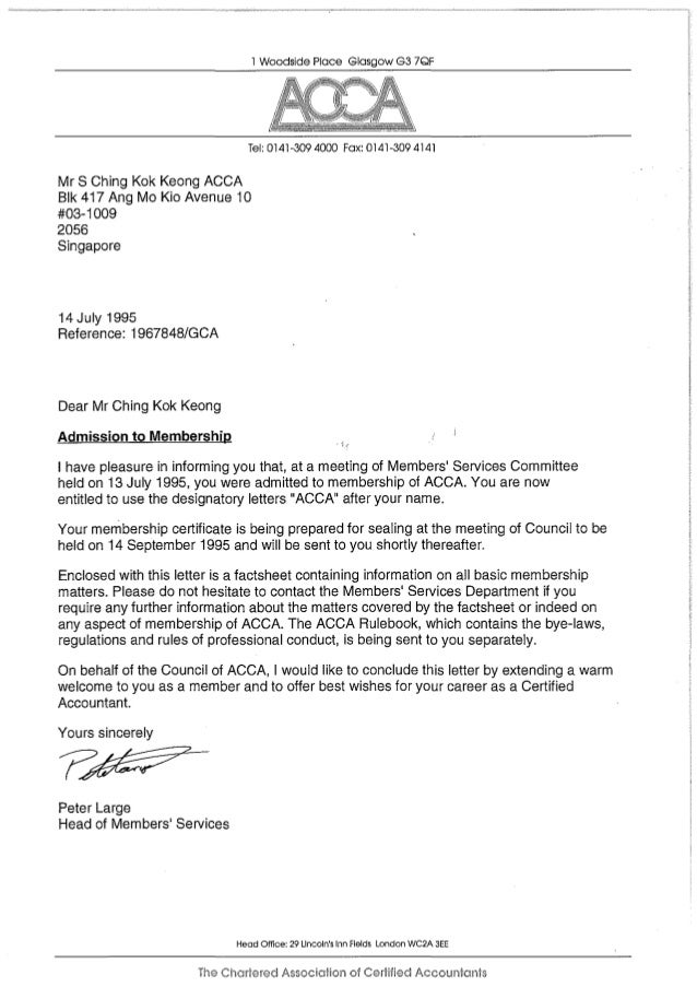 Keong Acca Membership Admission Letter