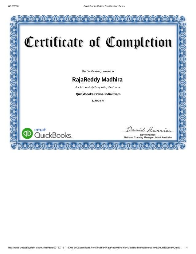 quickbooks online certification exam