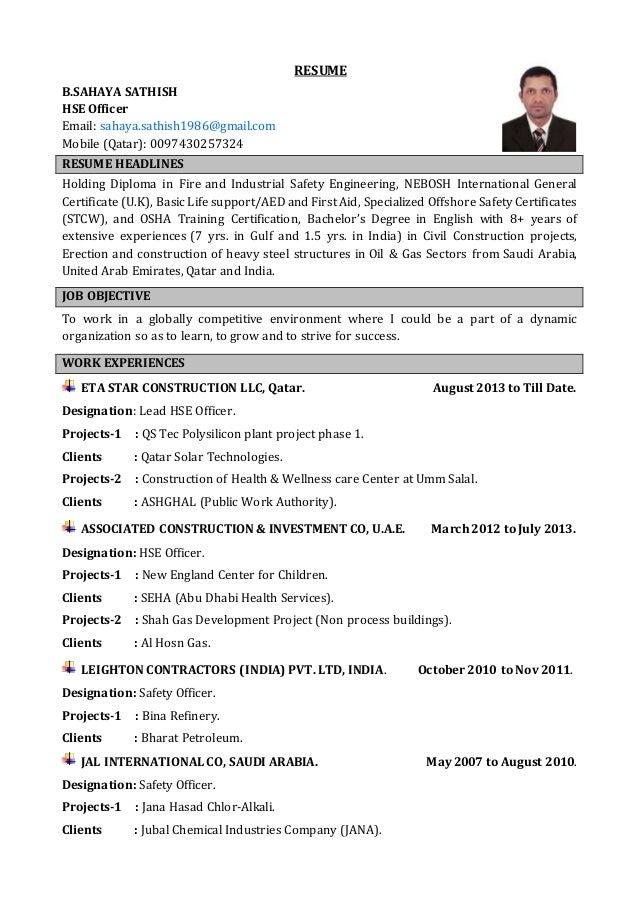 resume bsahaya sathish hse officer email sahayasathish1986gmailcom