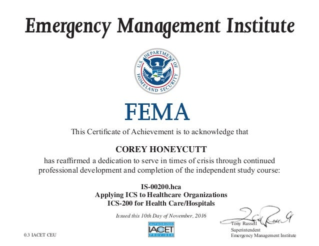 Is 00200hca Applying Ics To Healthcare Organizations Fema Certifi