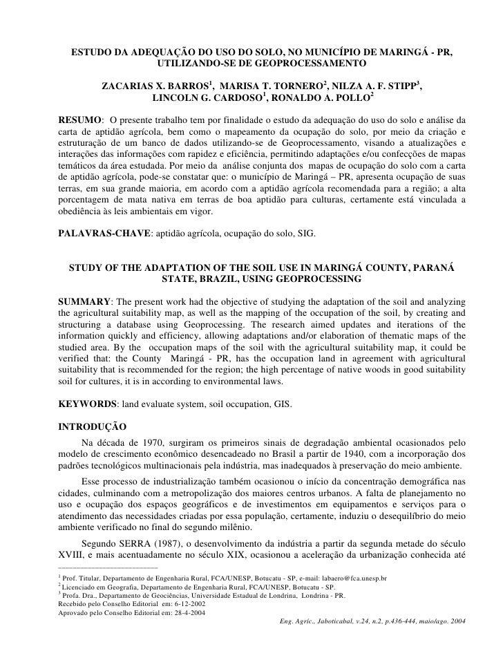 Estudo da adequação do uso do solo, no município de Maringá - PR, utilizando-se de geoprocessamento