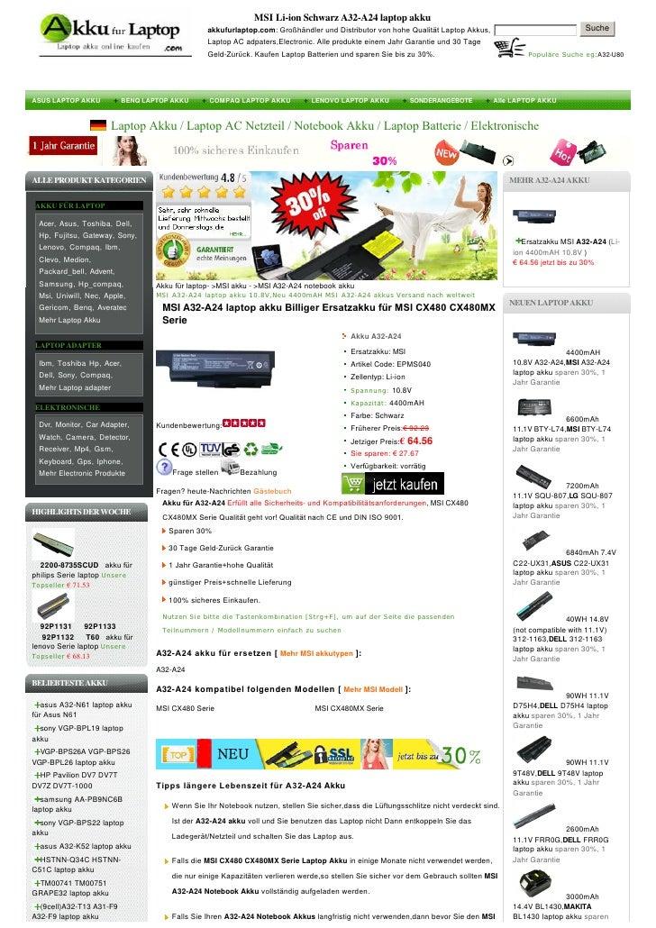 MSI Li-ion Schwarz A32-A24 laptop akku                                               akkufurlaptop.com:GroßhändlerundDi...