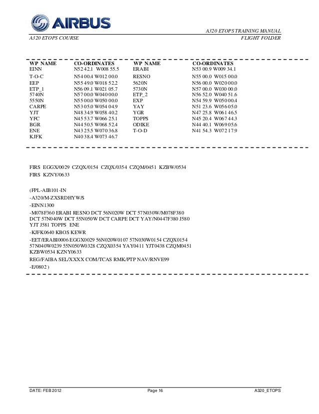 A320 etops trining manual 2012