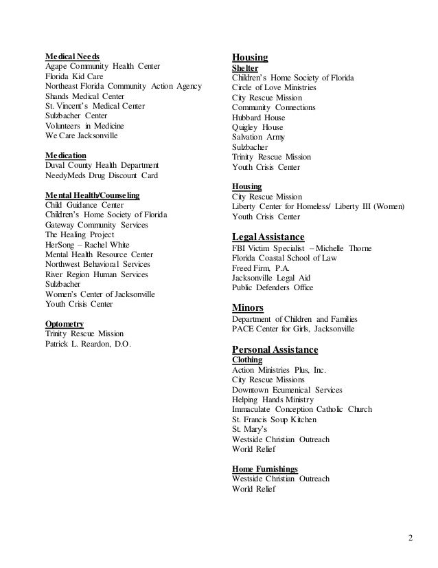 Jacksonville Area Service Providers 2014