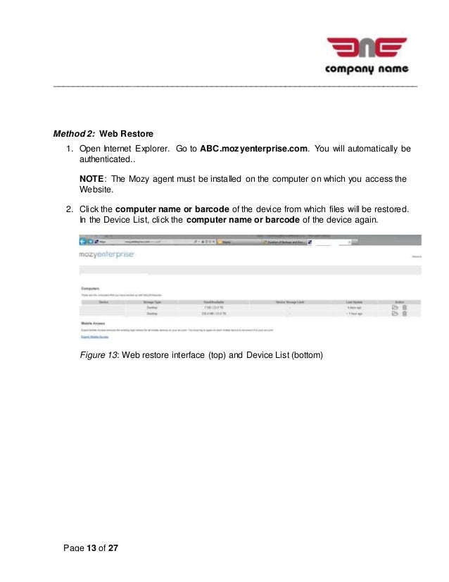 __________________________________________________________________________ Page 13 of 27 Method 2: Web Restore 1. Open Int...