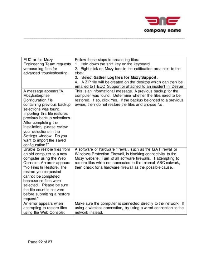 __________________________________________________________________________ Page 22 of 27 EUC or the Mozy Engineering Team ...