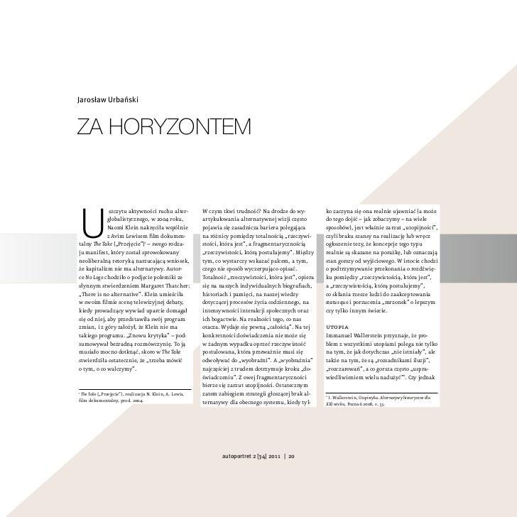 Jarosław UrbańskiZa horyZontemU              szczytu aktywności ruchu alter-             W czym tkwi trudność? Na drodze d...