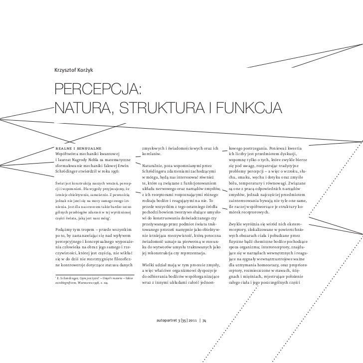 Krzysztof KorżykPercePcja:natura, struktura i funkcjarealne i sensualne                                             zmysło...