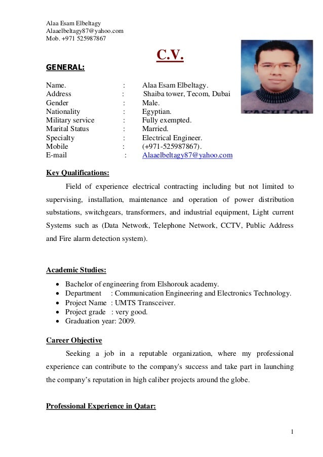 alaa elbeltagy electrical engineer cv  pdf