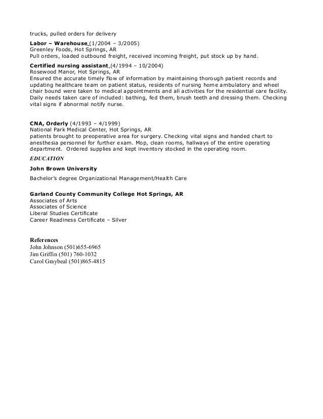 Cna Va Hospital Resume