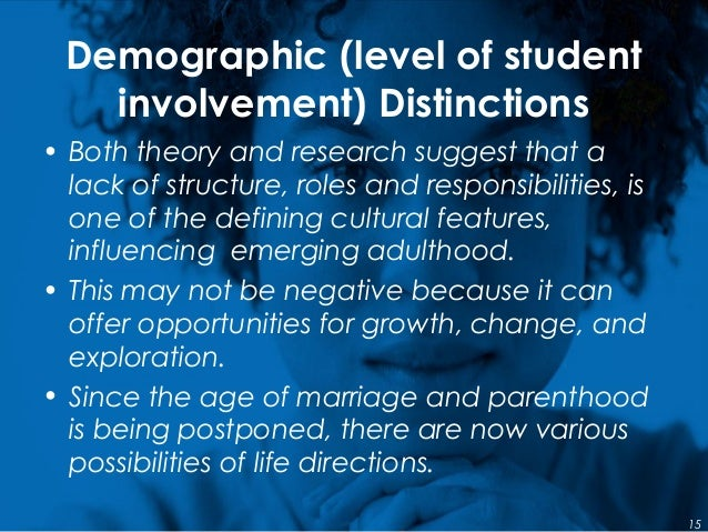 Demographic (level of student involvement) Distinctions • Both theory and research suggest that a lack of structure, roles...