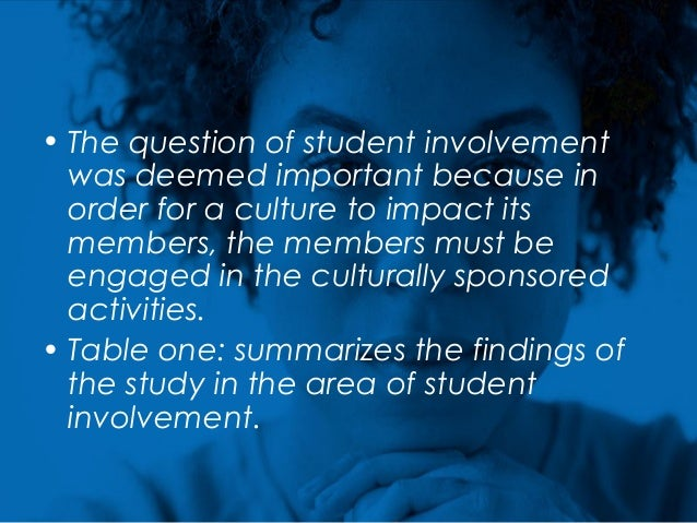 • The question of student involvement was deemed important because in order for a culture to impact its members, the membe...