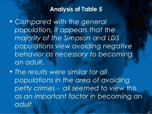 Analysis of Table 5 • Compared with the general population, it appears that the majority of the Simpson and LDS population...