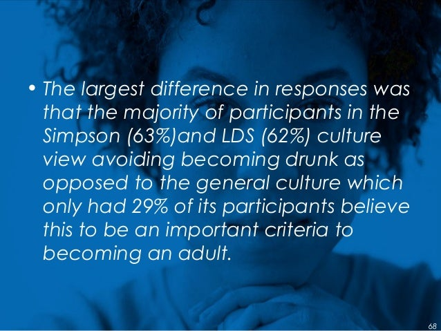 • The largest difference in responses was that the majority of participants in the Simpson (63%)and LDS (62%) culture view...