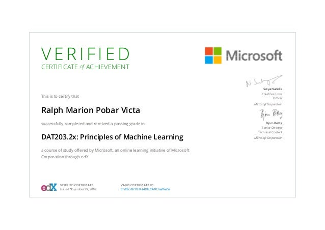 V E R I F I E D CERTIFICATE of ACHIEVEMENT This is to certify that Ralph Marion Pobar Victa successfully completed and rec...