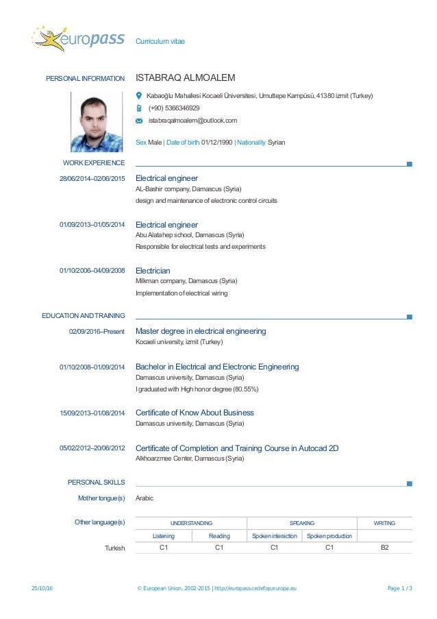 Curriculum vitae PERSONAL INFORMATION ISTABRAQ ALMOALEM Kabaoğlu Mahallesi Kocaeli Üniversitesi, Umuttepe Kampüsü, 41380 i...