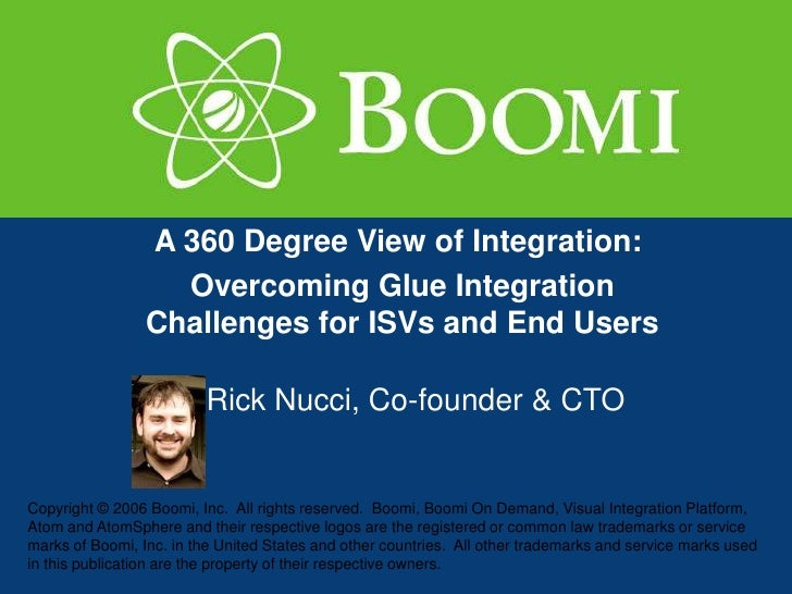 A 360 Degree View of Integration:                    Overcoming Glue Integration                  Challenges for ISVs and ...