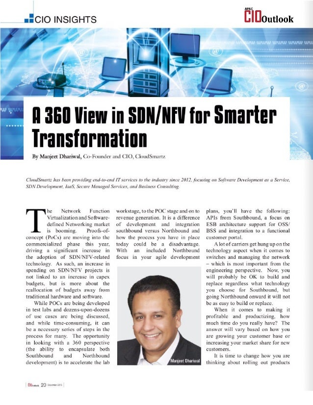 A 360 View in SDN/NFV for Smarter Transformation - APAC CIO OUTLOOK - December 2015