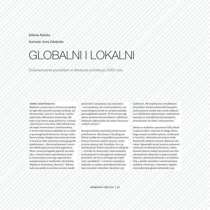 Elżbieta RybickaIlustracje: Anna ZabdyrskaGlobalni i lokalniDoświadczenie przestrzeni w literaturze polskiej po 2000 rokun...