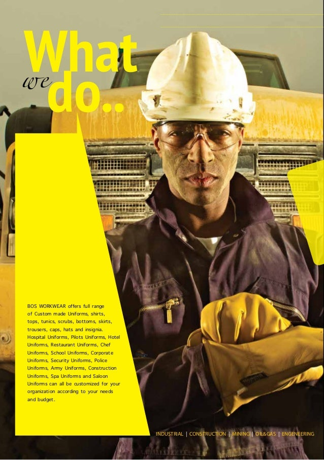 Bos workwear profile online version for Spa uniform suppliers south africa