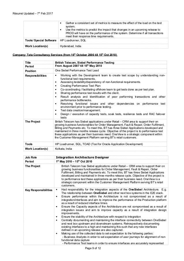 loadrunner resume
