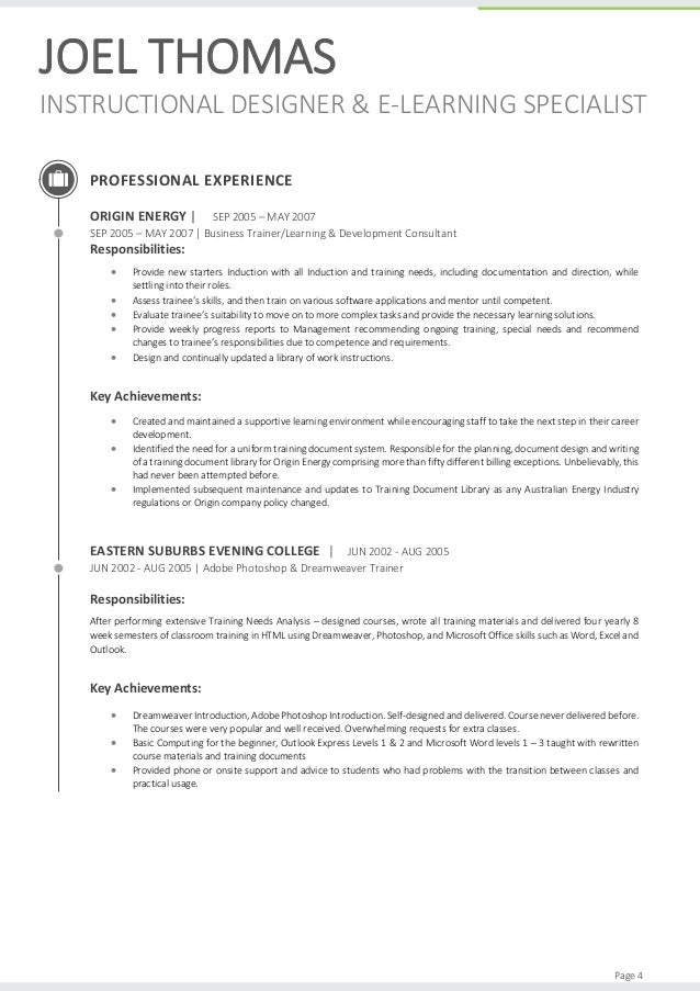 Joel thomas 2015 resume for Sample cover letter for instructional designer